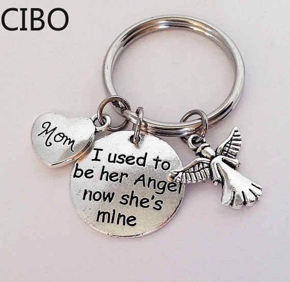 2019 ใหม่ I Used TO BE ของเธอของเขา Angel Charms Key Ring พ่อแม่ Memorial พวงกุญแจแม่ของขวัญพ่อ