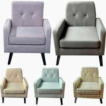 Cushion Armchair Linen Wooden Occasional Chair Accent Lounge Leisure Seat fast delivery