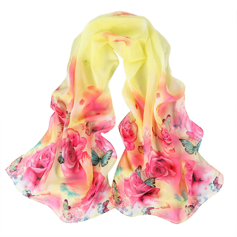 New Beautiful Womens Peony Pattern Long Stole   Scarves   Shawl   Scarf   Women's   Scarves     Wrap   Poncho Embroidery Neckerchief Tippet