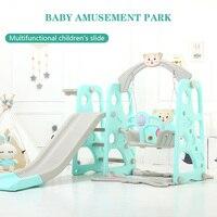 Children's Slide Indoor Multi functional Slide Basket Swing Combination Small Amusement Park Baby Music Learning Machine Toys