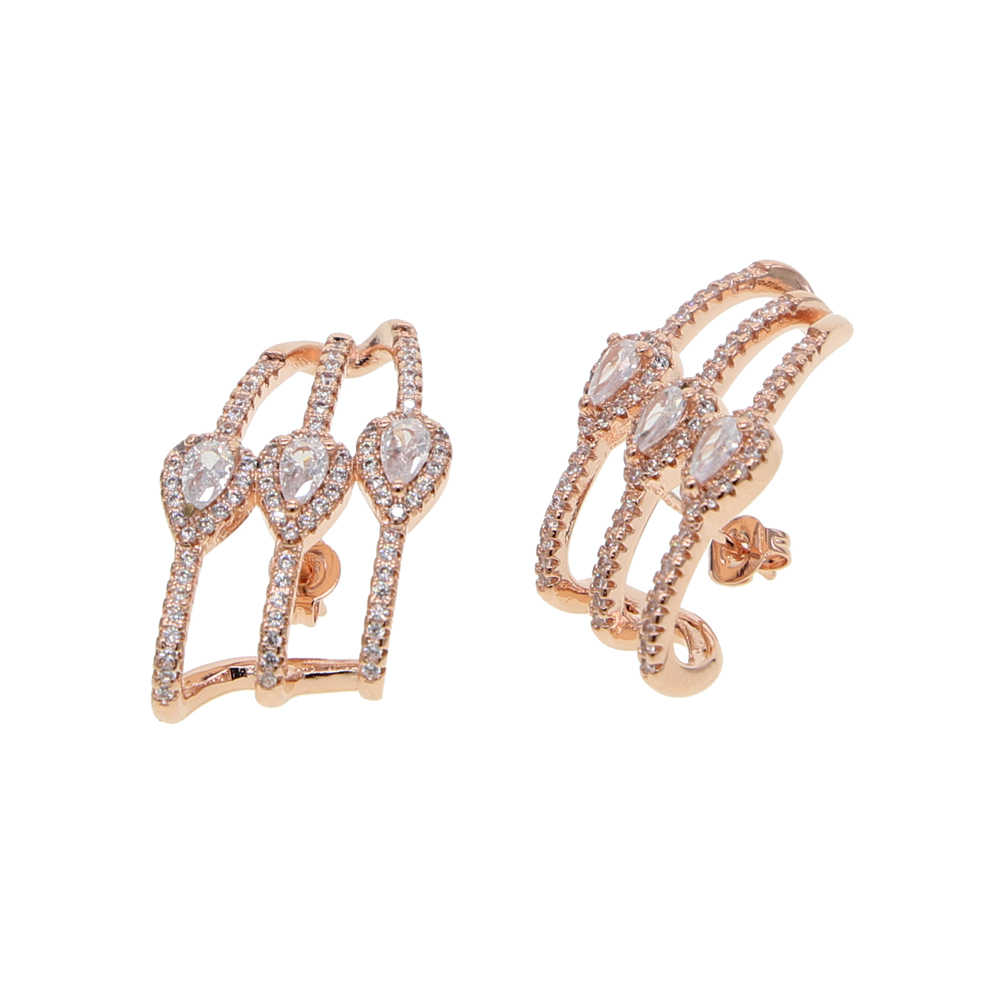 Różowe złoto kolor koreański styl zwykłe kryształki kolczyki dla kobiet biżuteria ślubna kolczyki ślubne zaręczynowe kobiece prezenty