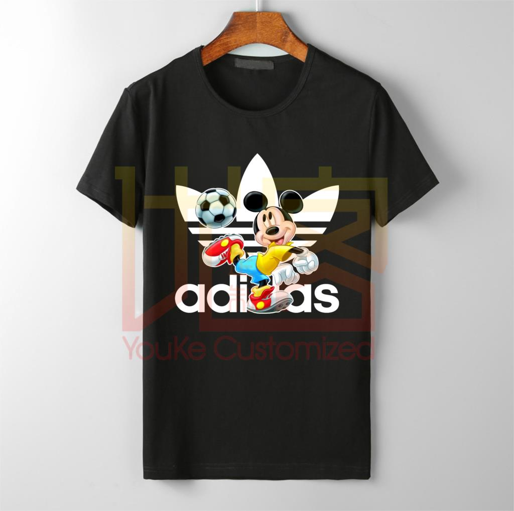 Summer Football Mickey Disn Sports Logo T-Shirts Handsome Mickey Print For Men's Cool