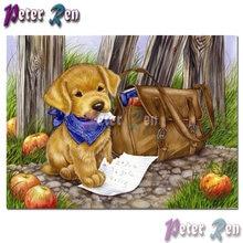 Вышивка с животными и бриллиантами милый щенок домашняя работа