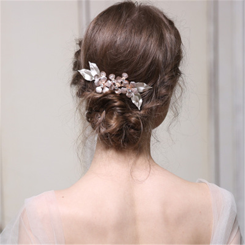 Metal Flower Bridal Hair Accessories Wedding Comb For Bride Handmade Wedding Jewelry Accessories Party Headdress Charms Haircomb