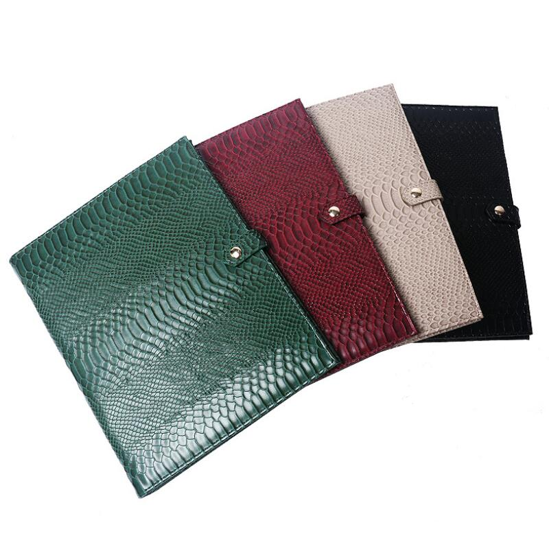 Fashion Women Bags Note Pad Document Bag Embrossed Python Pattern A4 File Holder High Quality Business Padfolio For Ipad Holder(China)
