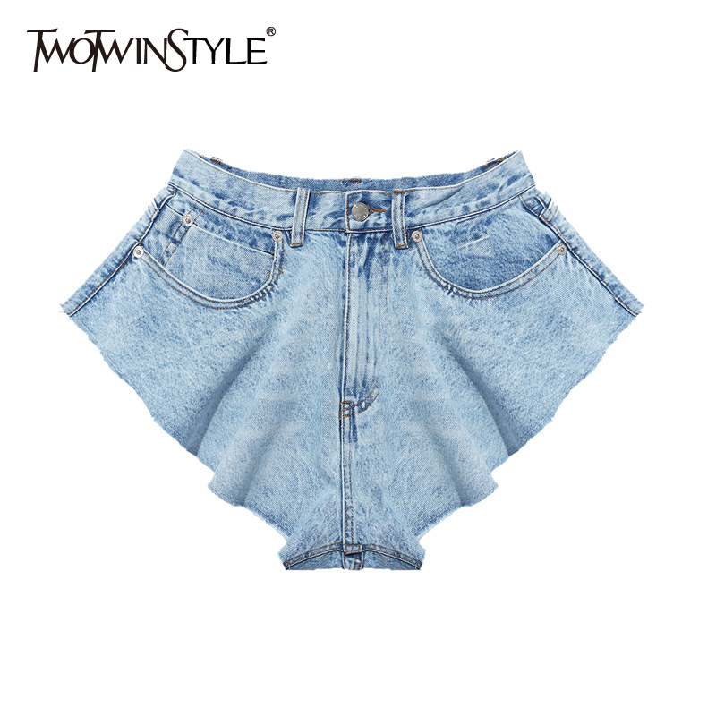 TWOTWINSTYLE Casual Denim Shorts Skirts High Waist Ruffle Hem Loose Ruched Short Pants Female Fashion Clothing 2020 Spring Tide