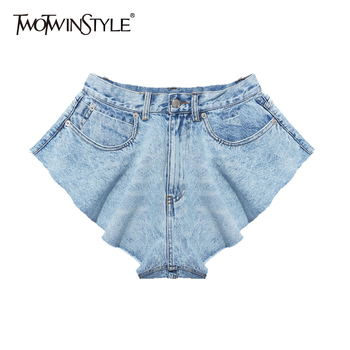 TWOTWINSTYLE Casual Denim Shorts Skirts High Waist Ruffle Hem Loose Ruched Short Pants Female Fashion Clothing 2020 Spring Tide twotwinstyle casual denim shorts skirts high waist ruffle hem loose ruched short pants female fashion clothing 2020 spring tide