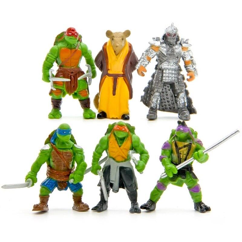 6 pçs/saco adorável mini tartarugas ação figura dos desenhos animados tartaruga ninja brinquedos para crianças anime figura boneca presentes de aniversário