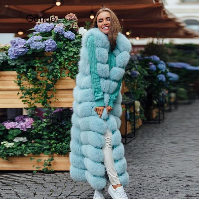 10-section Luxury Faux Fox Fur Winter Vest Jacket Sleeveless Thick Warm Horizontal Striped Long Style Fluffy Fake Fur Overcoat 1
