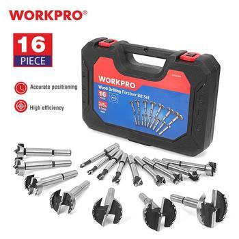 WORKPRO 16PC Forstner Drill Bits Set 6mm-50mm Wood Drill Bits 40CR Steel Woodworking Tools Hole Saw Drill Bit Set