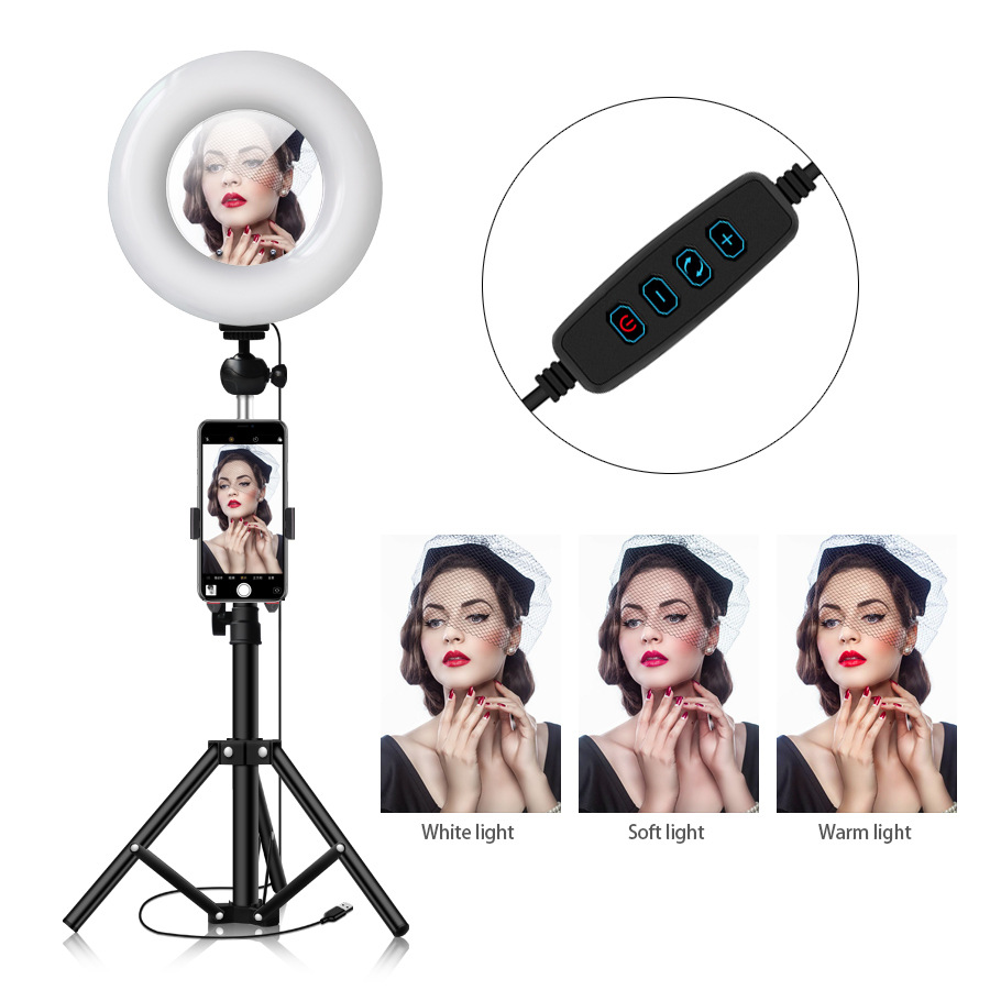 Photography makeup mirror LED Selfie Light 22CM Dimmable make up Camera Phone Lamp Table Tripods phone holder stand USB Cable