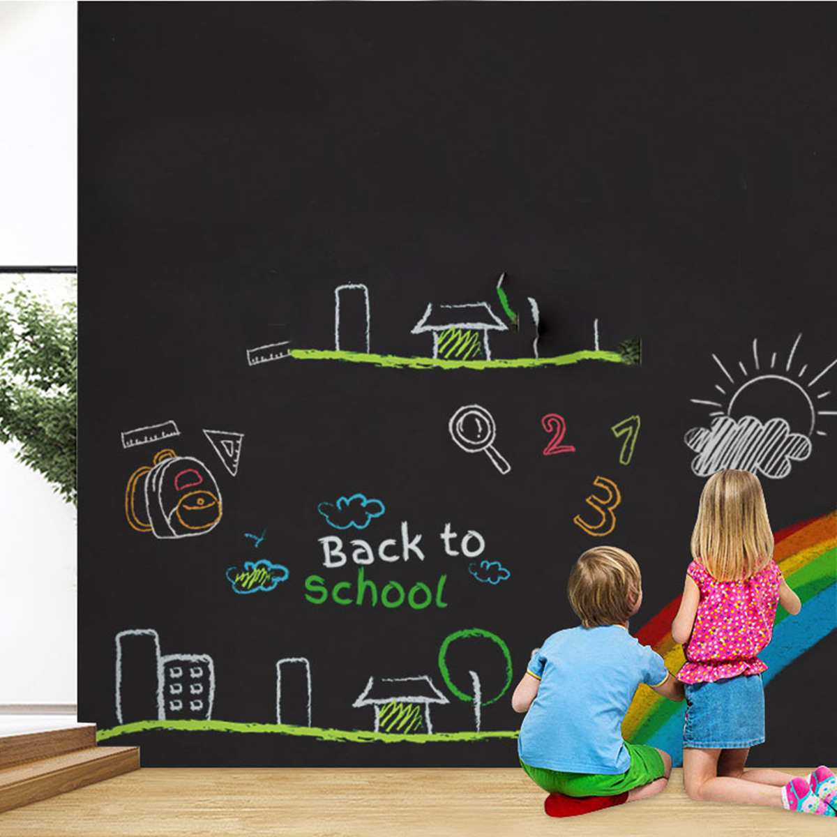45X100cm Wall Stickers Office Presentation Boards Whiteboard Chalk Drawing Self-adhesive Blackboard Stickers Children Graffiti