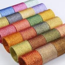 10Meters Ribbons Gold Silver Glitter Silk Satin Ribbons Crafts Wedding Decorative DIY Ribbons Bow Christmas Gift Wrap Decor