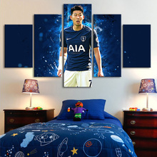 Tottenham Heung-Min Son Posters 5 Pieces Canvas Art Paintings Soccer Stars Football Sports Kids Room Decor Frame