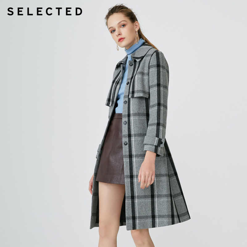 SELECTED Autumn and winter new women's wool slim British plaid woolen coat S |418427526