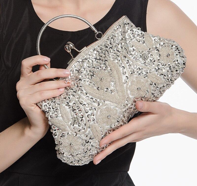 Perles à coudre à la main rétro sac de soirée forme classique Hobos armure fleurs moraillon pochette sac à main de mode sac à main pour robe élégante dame