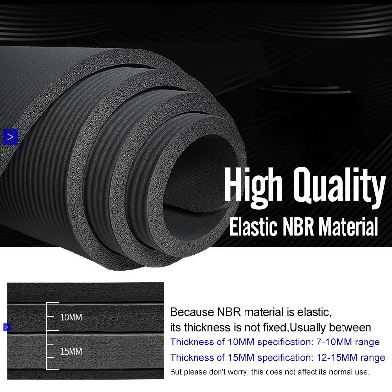 Men Gym Mats Large Size NBR Non-slip Yoga Mats For Fitness Mat 15MM Sport Pad With Bandages Big Size Tapete 2