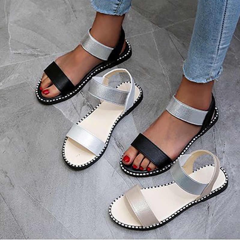 Kadın sandalet kadın elastik bant Flats bayanlar moda roma dikiş ayakkabı açık ayak kadın ayakkabısı 2020 yaz artı boyutu 41
