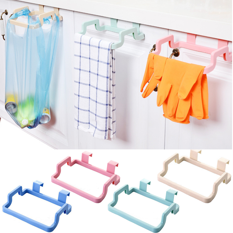 Garbage Trash Bag Rack Attach Holder Cabinet Cupboard Door Kitchen Bathroom Accesorries