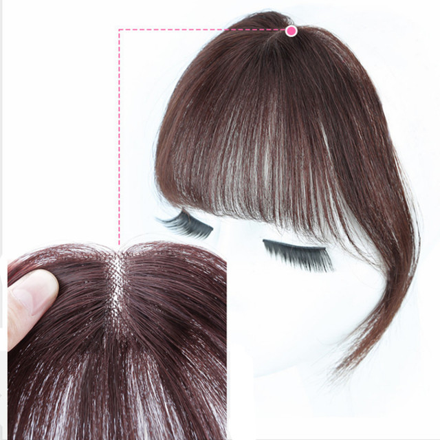 Middle Part Clip In Bangs Human Hair Fringe Air Bangs Brazilian Hair Pieces Invisible Non-remy Replacement Hair Wig alipearl 1