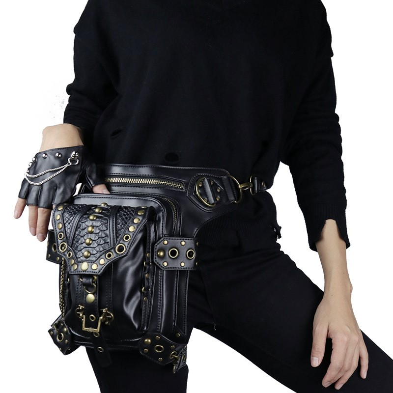 2019 New Steampunk Retro Rock Shoulder Crossbody Bag Vintage PU Leather Waist Pack Women Travel Bag Casual Coin Purse Leg Bags