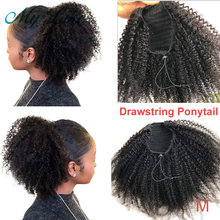 MY Like Afro Kinky Curly Human Hair Ponytail Clips in for Women Bun Drawstring Brazilian Remy Hair Extension Natural Black(China)