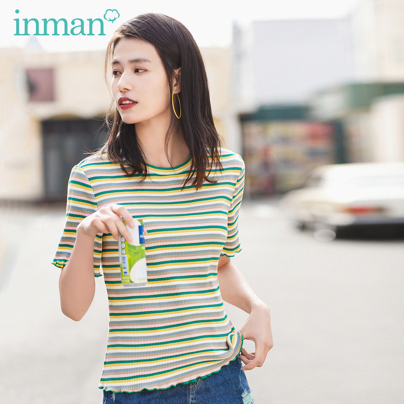 INMAN 2020 Summer New Arrival Girlish Vitality Sport Leisure Elastic Round Collar Short Sleeve T-shirt