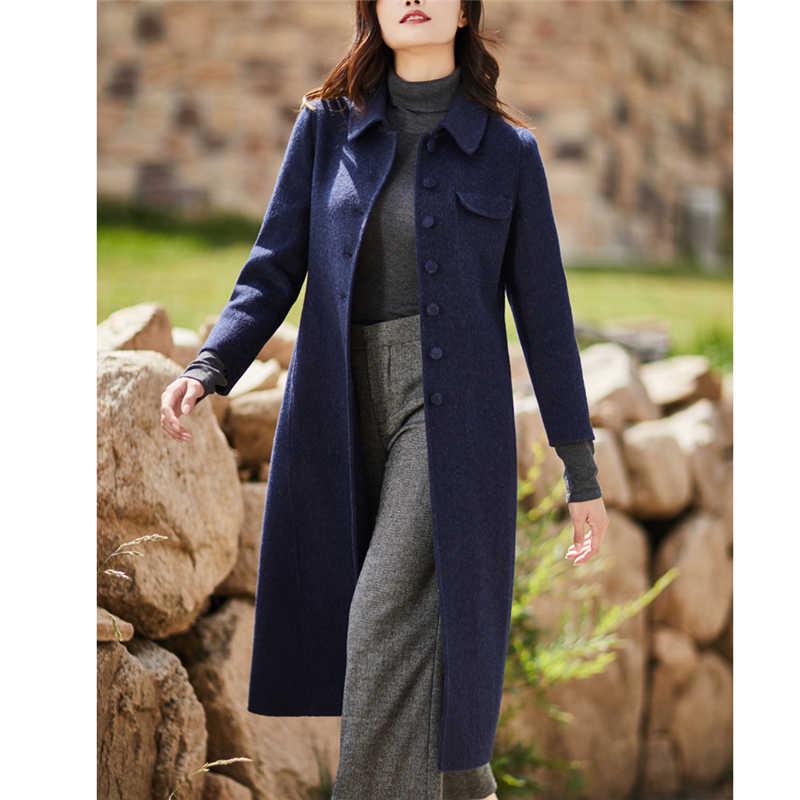 Двустороннее кашемировое шерстяное пальто Женская Длинная зимняя куртка 2019 модная популярная темпераментная шерстяная Корейская одежда W183