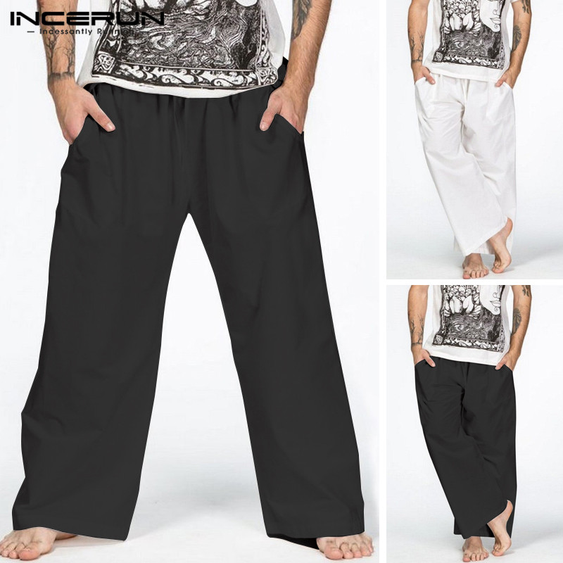 INCERUN Summer 2019 Men's Wide Leg Pants New Solid Color Elastic Waist Strap Cotton Loose Casual Street Men's Fashion Trousers