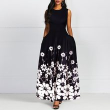 Sleeveless Floral Print Vintage A Line Women Maxi Dress Female Round Neck Retro Standard-Waist Dress 2019 Autumn Winter Trendy random floral print round neck sleeveless dress in white