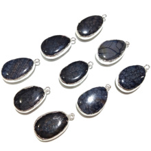 New 1 Piece Black Natural Stone Pendants Necklace Jewelry Findings Fashion for Making Size 25x15mm