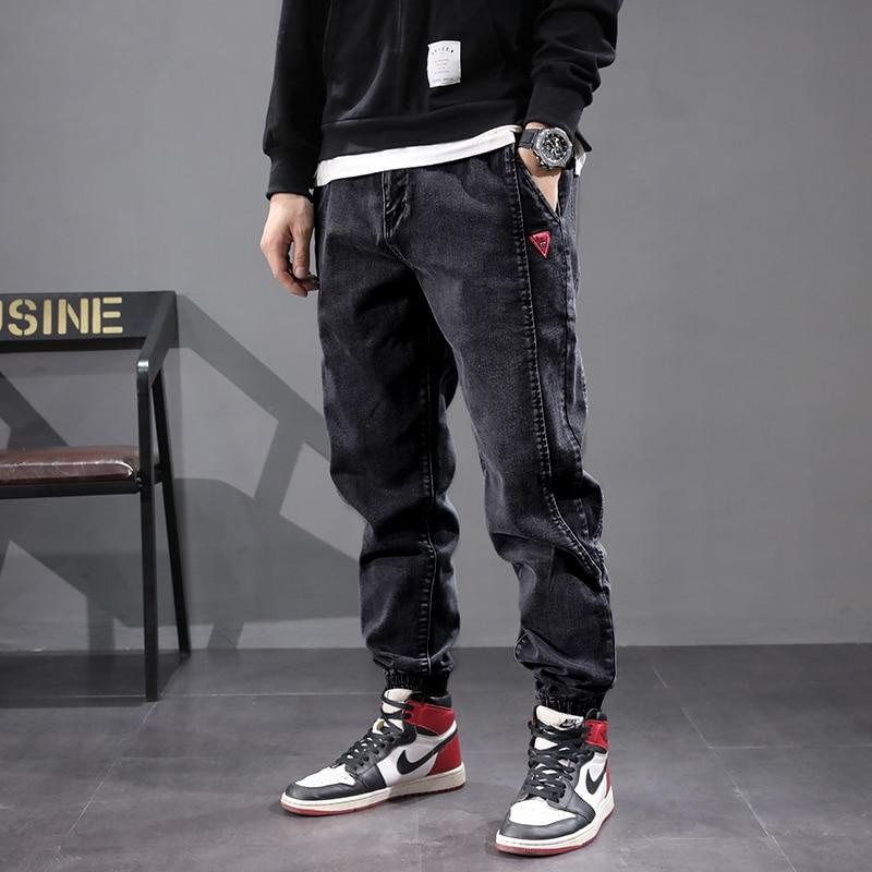 Japanese Style Vintage Men Jeans Spliced Designer Cargo Pants Harem Jeans Streetwear Fashion Hip Hop Jogger Jeans Men Size 28-42