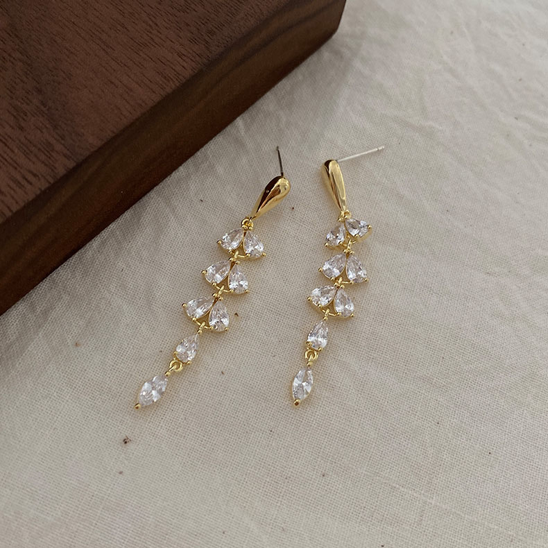 Zircon Beads Tassel <font><b>Earrings</b></font> For Women Super <font><b>Elegant</b></font> Leaf <font><b>Drop</b></font> Pendant Pierced <font><b>Gold</b></font> Stud <font><b>Earring</b></font> Korean Ladies Ear <font><b>Jewelry</b></font> image