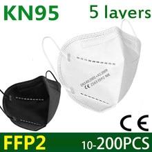 5-200 ffp2 máscara facial kn95 fpp2 máscaras de filtro de 5 camadas proteger maske boca segurança anti poeira máscara de cuidados de saúde padrão da ue