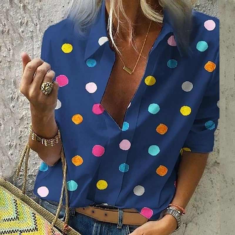 LITTHING 2019 ผู้หญิงเสื้อผู้หญิงทำงานสำนักงาน Dot พิมพ์เสื้อลำลองยาวเสื้อแขนเสื้อ Femmes MODE Blusas