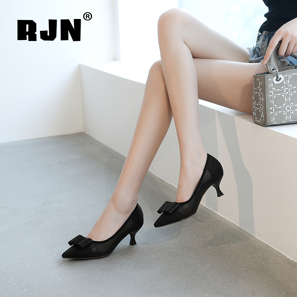 Buy RJN Breathable Gauze Pumps Butterfly-Knot Decoration Sexy Pointed Toe Med Heel Slip-On Shallow Shoes Women Pumps For Party RO50