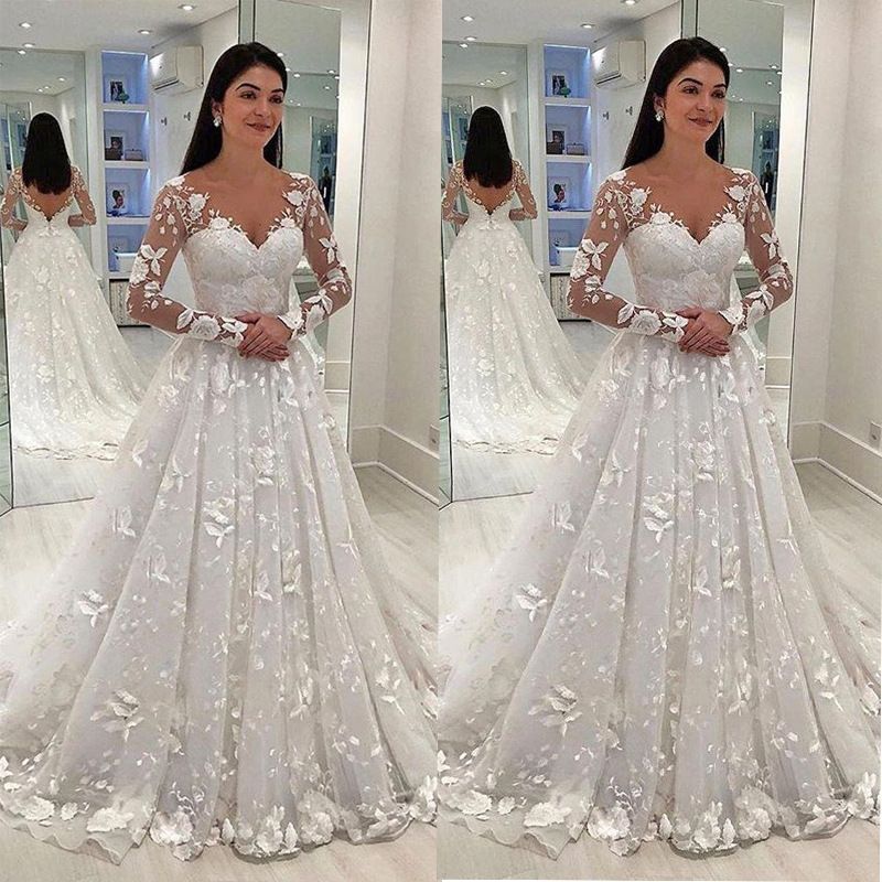 2019 Europe And America Foreign Trade New Style WOMEN'S Dress Wish Dunhuang Hot Selling Lace Deep V Long Sleeve Formal Dress Lon