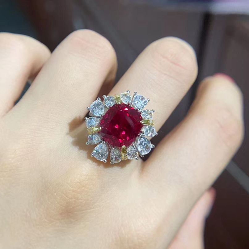 Synthetic ruby stone and sterling silver ring