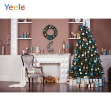 Yeele Christmas Party Ins Interior Fireplace Pine Photography Backdrops Personalized Photographic Backgrounds For Photo Studio