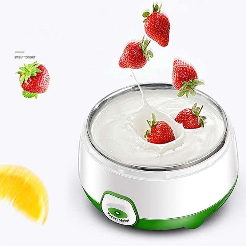 Yogurt maker 1L Automatic Yogurt machine Household DIY Yogurt tools Kitchen appliance Stainless steel/PP tank Pink 220V