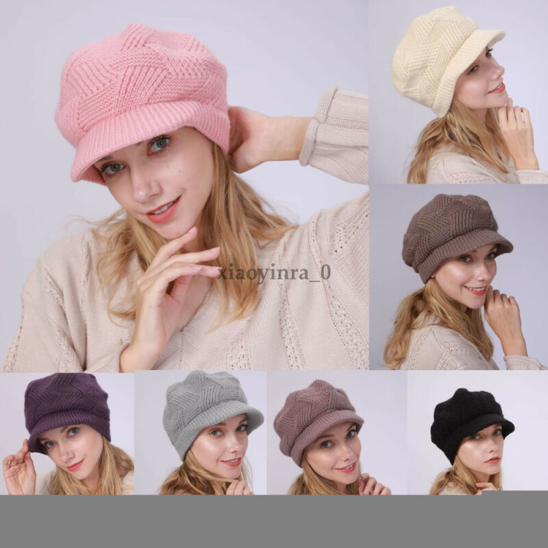 Knit Hats Beanie Crochet Beret Knitted Women Winter Cap Girls Ski Slouchy