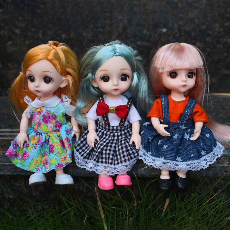 BjD 16CM poupée 13 articulations mobiles décontracté princesse vêtements costume accessoires décoration nue multicolore cheveux fille cadeau jouet