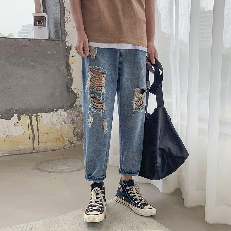 Autumn New Hole Jeans Men Fashion Washed Solid Color Casual Denim Trousers Man Streetwear Loose Hip Hop Straight Jeans Pants Men