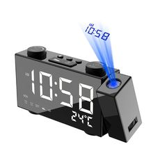 LED Digital FM Radio Projection Alarm Clock Snooze Timer Temperature Display with USB Charge Cable Home Decor