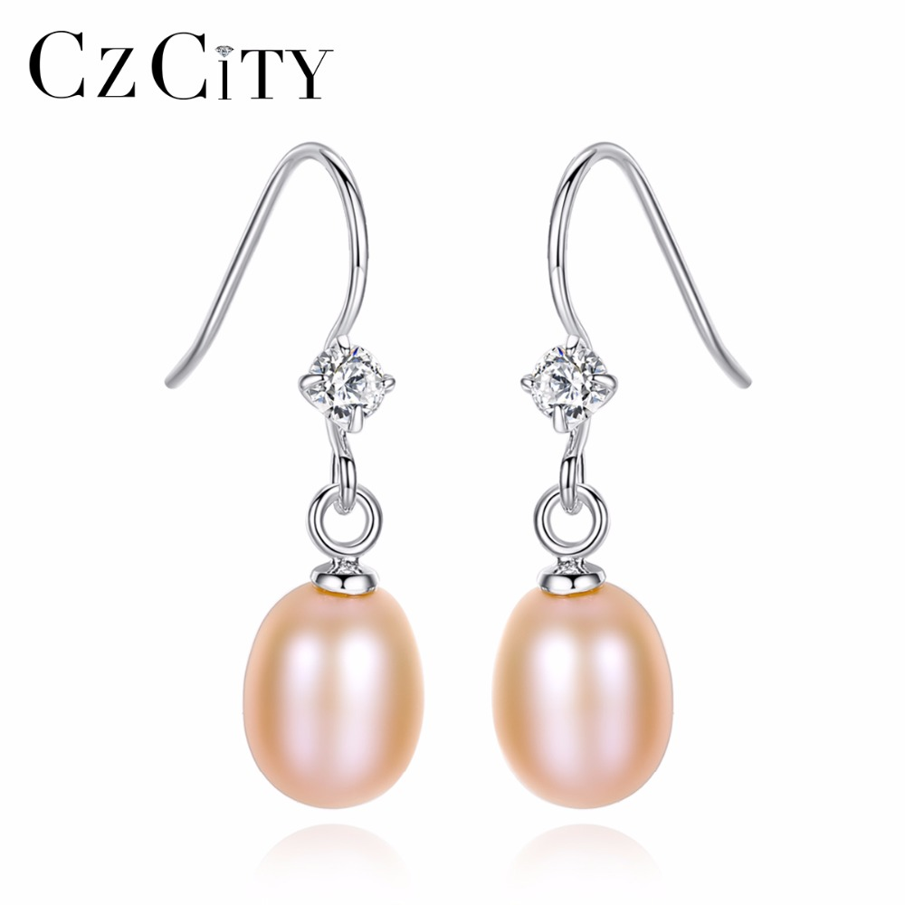 CZCITY 925 Silver Parts Rhodium Women 7-7.5mm Freshwater Pearl Earrings With Single CZ Stone Crystal Drop Earring For Girls Gift