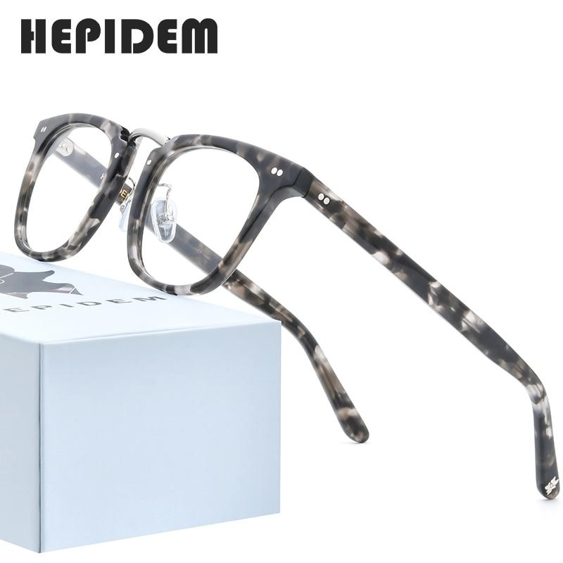 HEPIDEM Acetate Optical Eyeglasses Frame Men 2020 Square Myopia Optical Glasses Women Nerd Prescription Spectacles Eyewear 9126