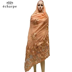 Image 2 - New African Women Scarfs muslim embroidery soft cotton big scarf for shawls wraps pashmina BM937