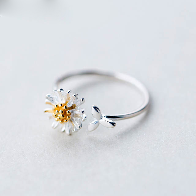 Korean Real 925 Sterling Silver Daisy Flower Rings For Women Adjustable Wedding Ring Fashion Jewelry