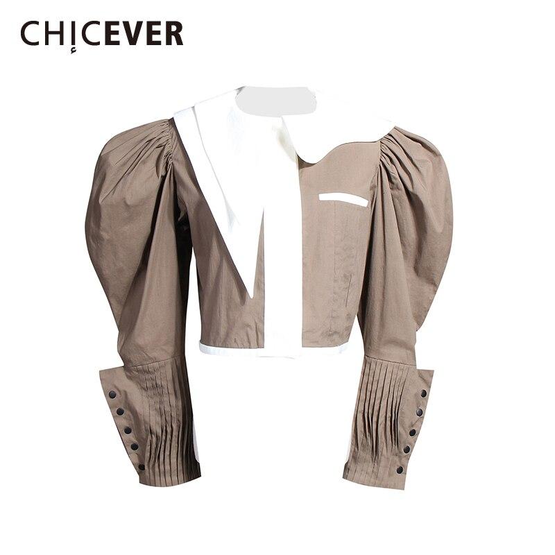 CHICEVER coréen Patchwork Hit couleur femmes chemise col revers manches bouffantes court élégant Blouse femme 2019 mode nouveaux vêtements