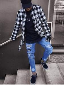 Ripped Jeans Pants Trousers Biker Skinny Fashion Denim Stylish Slim Straight Frayed Men